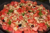 vannmelon og fetaos med pinjekjerner